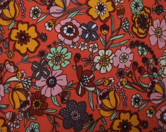 "Home Decor Fabric, Floral Print, Orange Fabric, Rayon Fabric, Sewing Crafts, Dress Fabric, 59"" Inch Fabric By The Yard ZBR250A"