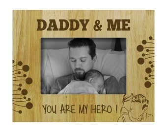 Personalized Frames, Fathers Day Gift, Custom Frames, Wood Engraved Picture Frame, Rustic Frame,  4x6  / 5x7 Picture Frame  PWF4