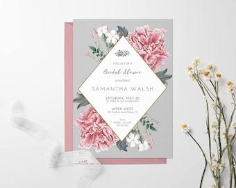 Bridal Shower Invitation - Vintage Flowers | Customized Digital Printable