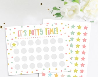 Potty Training Reward Chart With Stickers, Potty Chart, Potty Sticker Chart, Potty Chart, Potty Time Chart