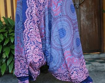 Flower Harem Pants Drop Crotch Style Festival Pants Women Blue