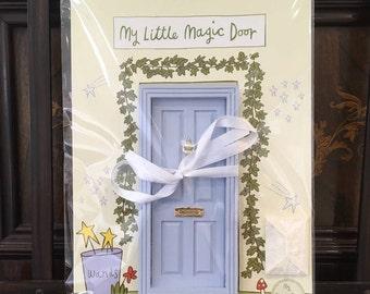 Fairy Door - Dollhouse Door hand painted baby blue