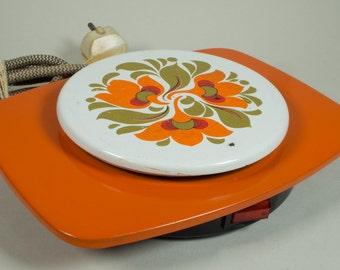 Vintage electric hot plate 'Inventum', rechaud, food warmer, kitchenware, retro orange floral design