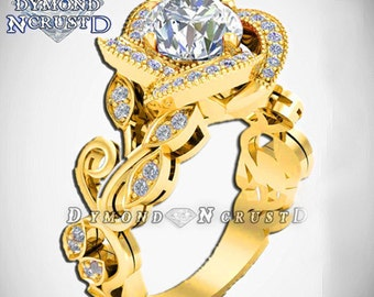 Princess Belle Inspired Rose Flower Swarovski Yellow Gold Over Sterling Silver Or Engagement Ring