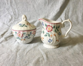 Vintage Churchill Chartwell Collection Briar Rose Sugar Bowl and Creamer