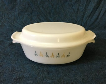 Vintage Anchor Hocking Candle Glow 1 1/2 Quart Covered Casserole Dish
