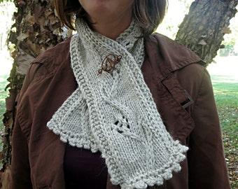 Hand knit light grey scarf, baby alpaca scarf, copper scarf pin, light gray scarf, platinum scarf, off white scarf flower scarf floral scarf