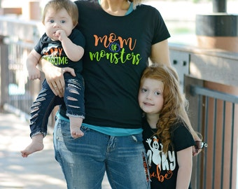 Mom Of Monsters Shirt- Mom Halloween Shirt - Halloween Mommy and Me - Matching Halloween Shirts - Womens Halloween Shirt