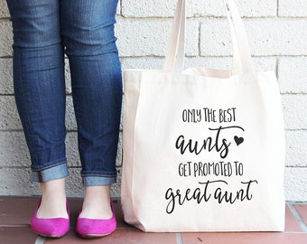 Only the best aunts get promoted to great aunt, Canvas tote bag, All-purpose handbag, Great aunt, Great aunt gifts, Aunt gifts, Auntie T18