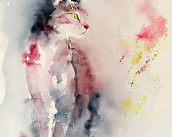 "Original painting of a pink and grey standing cat, Original Watercolour of a cat - pet painting - 16"" x 24"""
