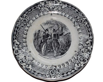 "French Black White Transferware Plate - Creil et Montereau ""Militaire"" Plate Number 9 - Ceramic Wall Plate - French Soldiers"