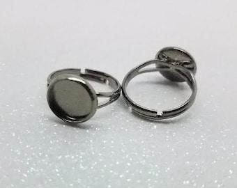 10mm Gunmetal Plated Adjustable Ring Blanks - 4 Pcs