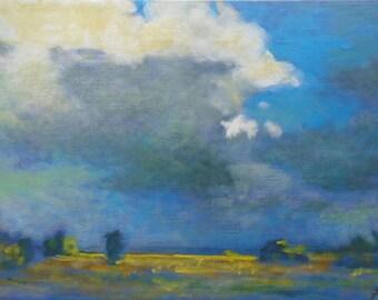 SKY ORIGINAL LANDSCAPE Original Oil Painting by Ukrainian artist Reshetov R., Signed, Clouds painting, Ukrainian Handmade Artwork