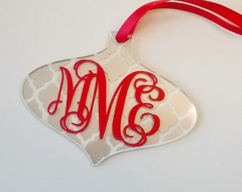Monogram Christmas Ornament, Monogram Ornament, Christmas Ornament, Personalized Christmas Ornament, Wedding Gift, Ornament