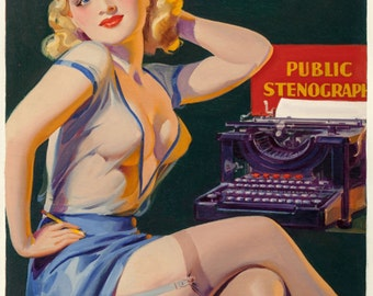 pin-up girl pulp art print Tattle Tales cover  Winter 1937