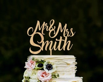 Cake topper for wedding, Custom Mr & Mrs name cake topper, rustic wedding cake topper, personalised mr mrs cake topper, cake topper gold