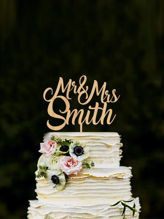 Cake topper for wedding Custom Mr Mrs name cake topper