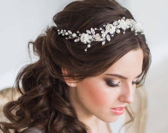 BLOOM | Bridal hair vine floral bridal tiara wedding diadem pearl hair vine crystal wedding tiara