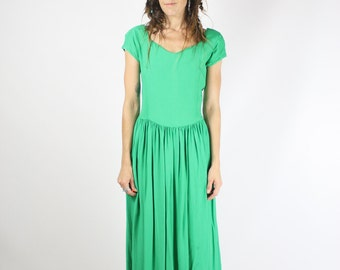 Kelly Green Vintage Dress, 90s Picnic Dress, Button up back Scoop neck Cap sleeves Swing skirt, Small 3074