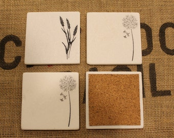 Dandelion and Wild Flowers Coaster Set, Marble Drink Coasters, Various Flower Stamped Tile Coasters, Carrara Marble Tiles, Summer Decor,