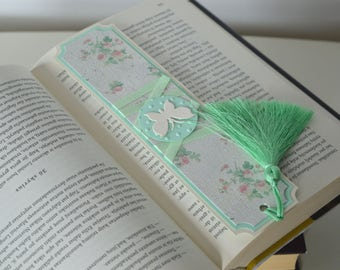 Floral bookmark, Handmade mint bookmark with tassel, Mint bookmark, Cute bookmark, Girly bookmark, Book lovers gift, Paper bookmarks