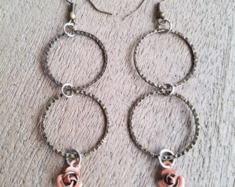 Peach Rosebud Earrings