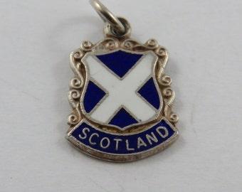 Enameled Scotland Travel Shield Sterling Silver Charm or Pendant.