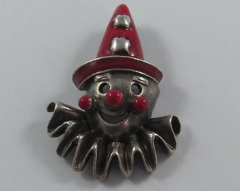 Red Enameled Scary Clown Sterling Silver Charm or Pendant.