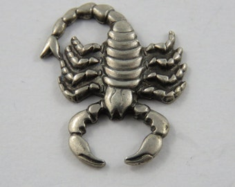 Scorpion Sterling Silver Pendant or Charm.
