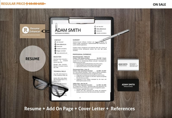 80% OFF SALE Modern Resume Template | Add On Page + Cover Letter + Reference Letter for Word | DIY Printable | Professional