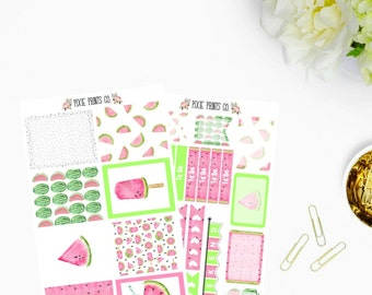 Watercolor Watermelon Planner Stickers, for use with Erin Condren, Planner Stickers, Sticker Kit, Life Planner