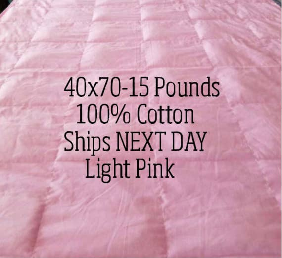 Weighted Blanket, 15 Pound, Pink, 40x70, READY TO SHIP, Twin Size, Adult Weighted Blanket, Next Business Day To Ship