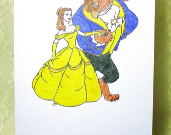 Beauty and the Beast Card: Add a Greeting or Leave Blank