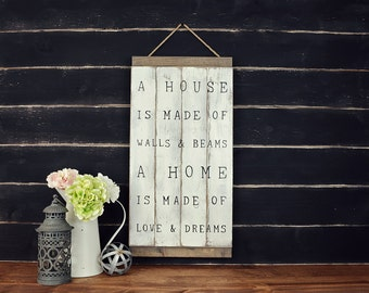A House Is Made Of...Rustic Wall Hanging, Rustic Home Decor, Rustic Wall Hangings, Banner Signs, Farmhouse Signs, Rustic Farmhouse