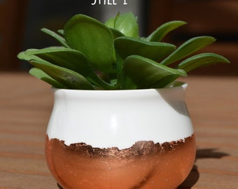 Mini Copper Foil Dipped Ceramic Plant Pot | Succulent Pot | Herb Pot