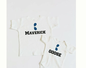 Kids Graphic Shirt. Sibling Shirt Set. Kids Sibling Graphic Shirt. Brother Shirts. Funny Shirt. Kids Clothing. Top Gun. Maverick Goose Shirt