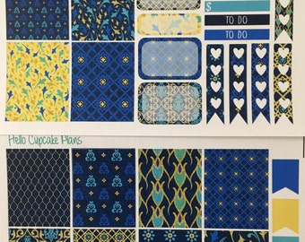 Blue Moroccan Pattern Small Set of Planner Stickers