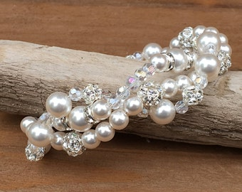 Handmade Pearl Wedding Bracelet, Swarovski Pearl Bridal Jewelry, Multi-Strand Ivory Pearl Bracelet, Crystal and Pearl Bridal Jewelry