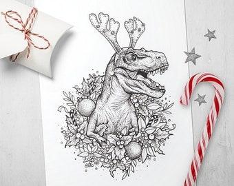 10 T-rex / Dinosaur Christmas X-Mas postcards,Happy Holidays