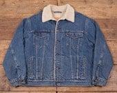 Mens Vintage Levis Red Tab Sherpa Denim Trucker Jacket Blue XL 48 R4705
