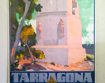 Original 1930 Tarragona SPAIN Art Deco Travel Poster by Pascal Capuz