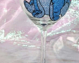 Hand Decorated Glitter Glass - Eeyore From Winnie The Pooh