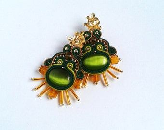 Soutache Earrings green, gold colors-Soutache earrings - green earrings - earrings medium