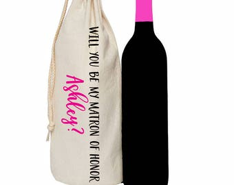 Will you be my bridesmaid personalized wine tote bag