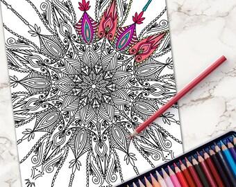 Adult Coloring Page Printable Book DIY Hand Drawn Doodles Digital Download