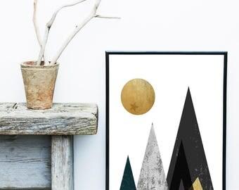 Mountain Art, Geometric Print, Modern Wall Art, Scandinavian Modern, Mustard And Grey Wall Art, Wall Decor, Giclee print, Gallery Wall