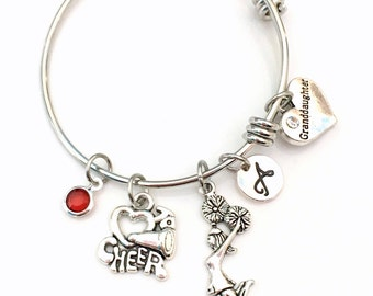 Stainless Steel Cheerleader Bracelet, Gift for GrandDaughter Cheerleading Jewelry Charm Bangle I love to Cheer Team Silver initial Teen Girl