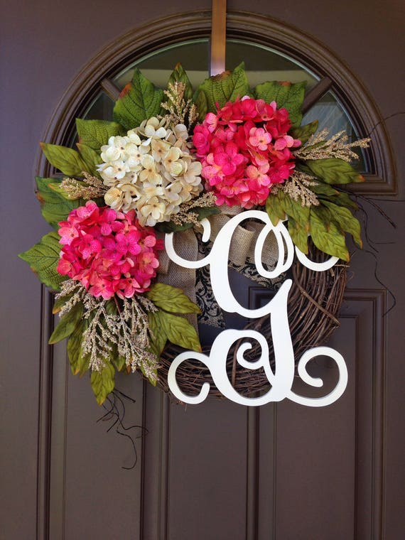 initial wreaths for front doorSummer Outdoor Wreath with Initial Pink Hydrangea Wreath