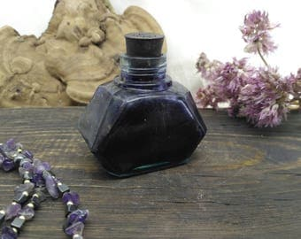 Cobalt blue decor glass jar apothecary canister mini antique ink well bottles inkwell with cork
