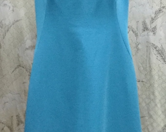 Vintage 1960s Blue Beaded Shift Dress, Size Large, Size L